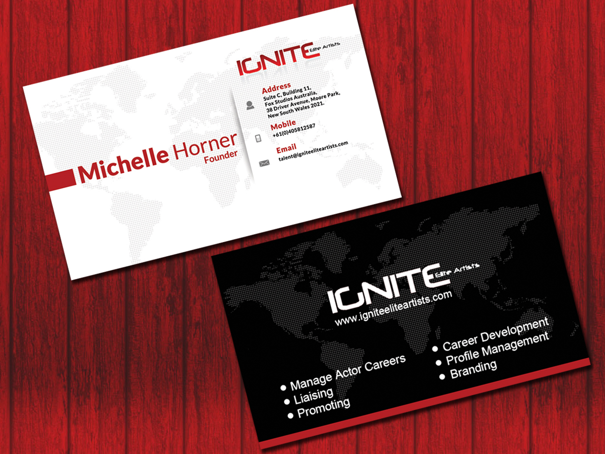 Modern upmarket film production business card design for ignite business card design by sheetalkatkar26 for ignite elite artists design 6379470 colourmoves