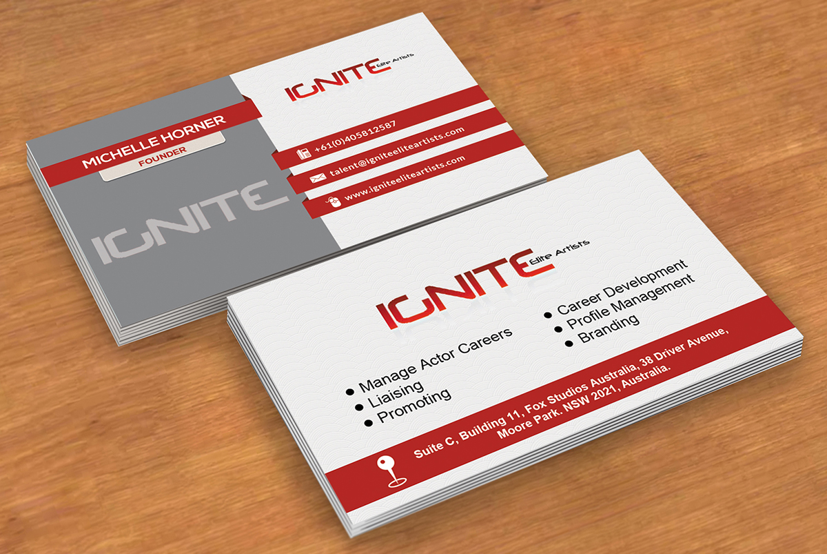 Modern, Upmarket Business Card Design for Ignite Elite Artists by ...