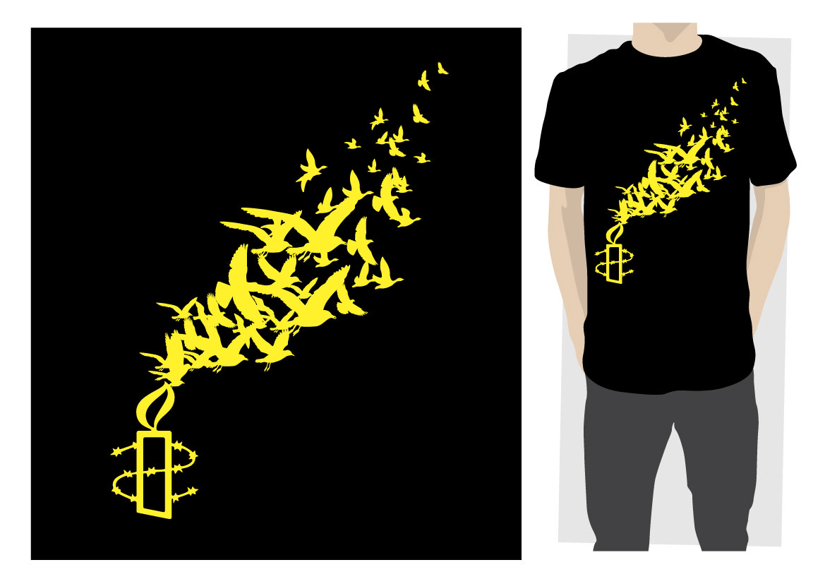 Modern colorful t shirt design for amnesty international for Design t shirts online australia
