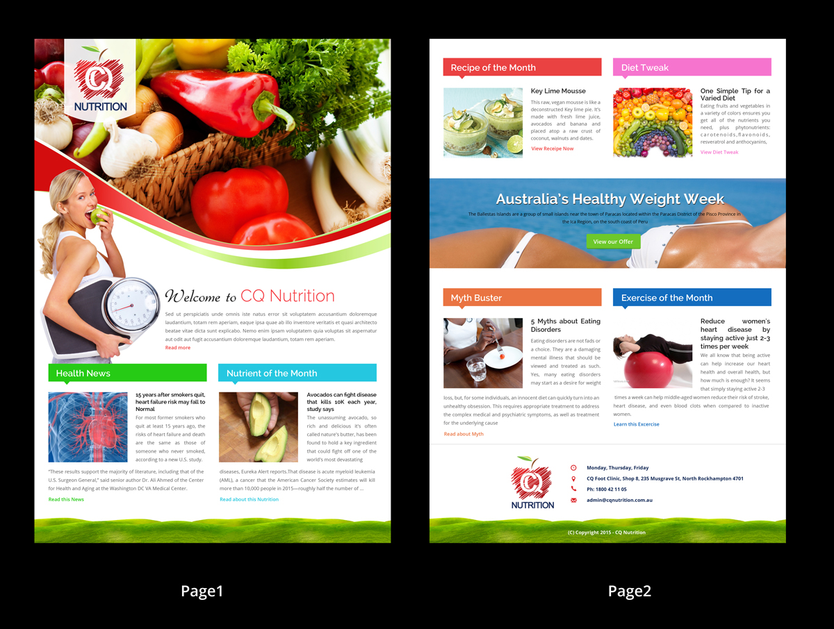 Colorful, Bold, Health Service Newsletter Design for a ... on newsletter templates for middle school, newsletter templates for customer service, newsletter templates for 2nd grade,