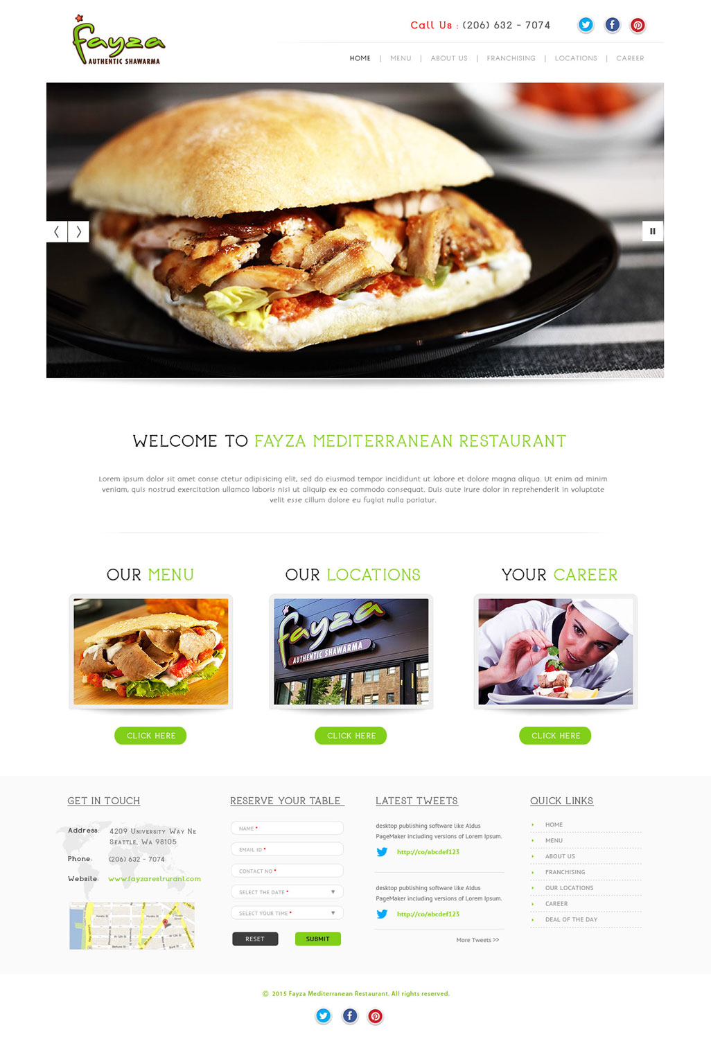 Modern professional restaurant web design for a company