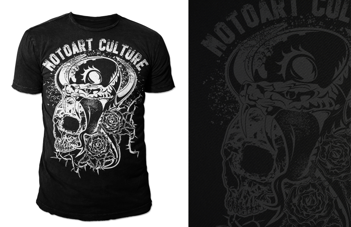 bold serious t shirt design for motoart by kid ink