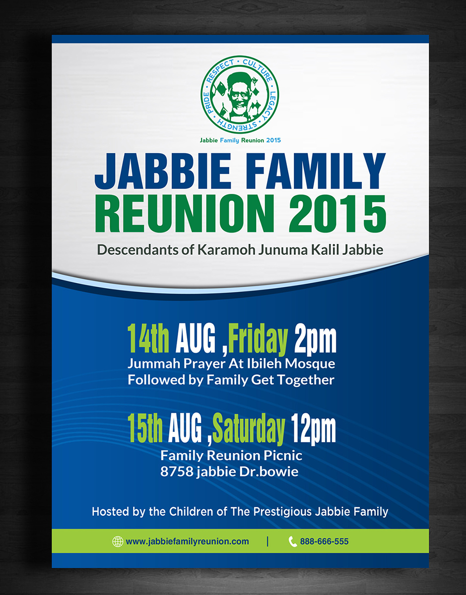 Playful Personable Flyer Design For Jabbie Family By Creative . Family  Reunion Flyer  Family Reunion Flyer