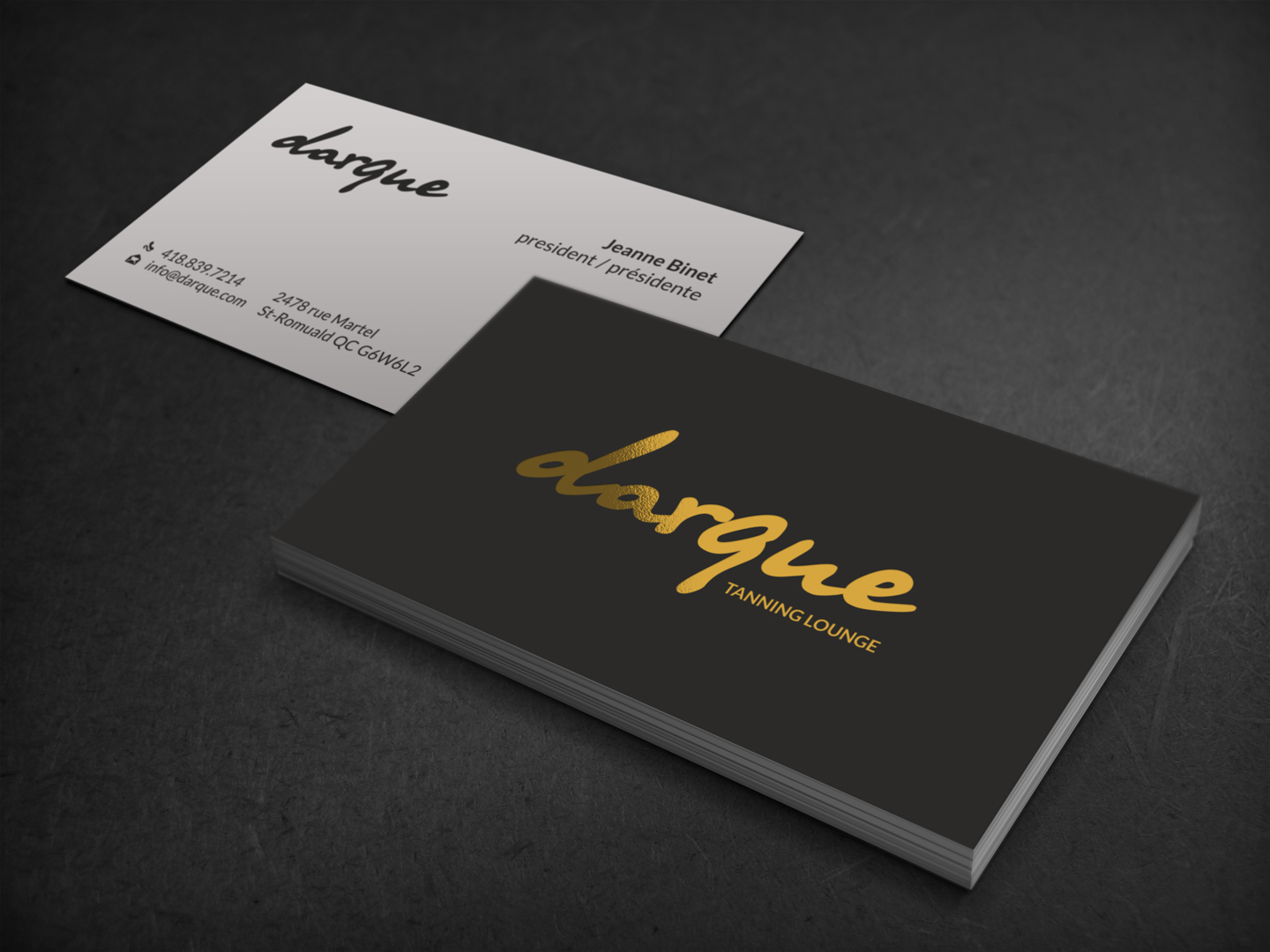 Rose Gold Typography Style Landscape Business Card