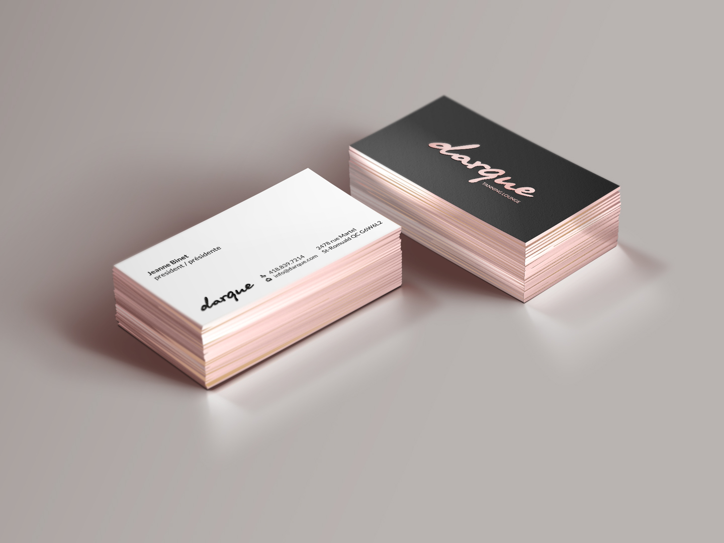 business card design by hypdesign for darque tanning lounge design 6722813 - Rose Gold Business Cards
