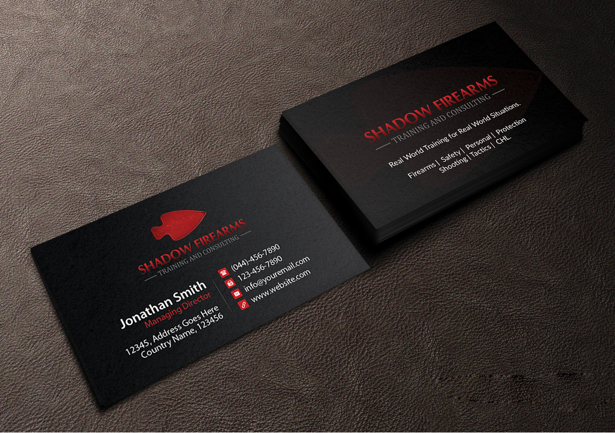 Elegant playful business card design for christian chatellier by business card design by creations box 2015 for shadow firearms training and consulting design kristyandbryce Image collections