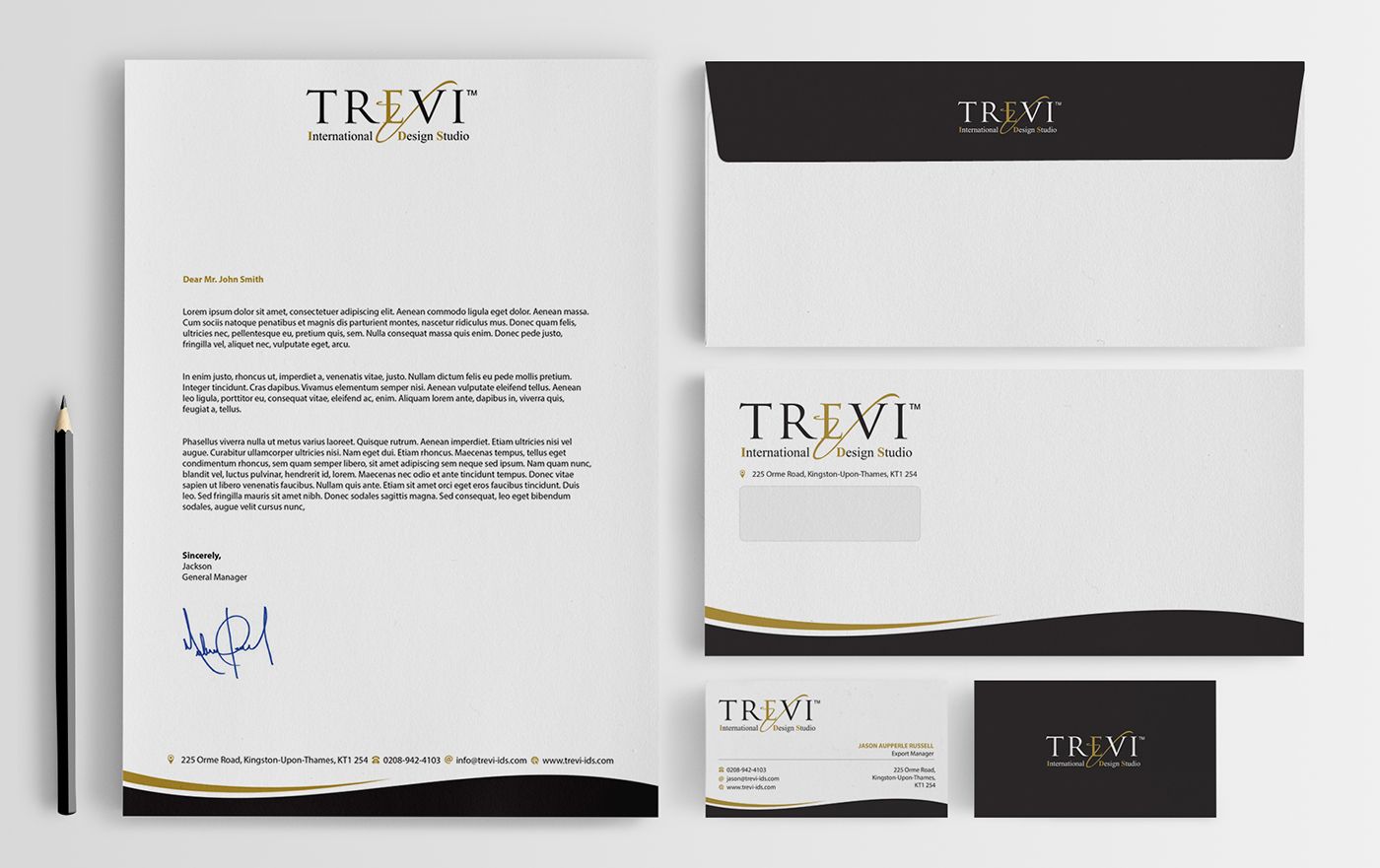 Upmarket modern it company stationery design for trevi for Hispano international decor llc