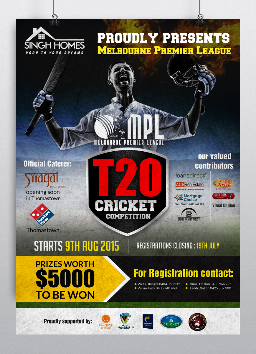 Poster design questionnaire - Poster Design By Hih7 For Ausian Community Cricket Association Requires A Poster For Mpl Design