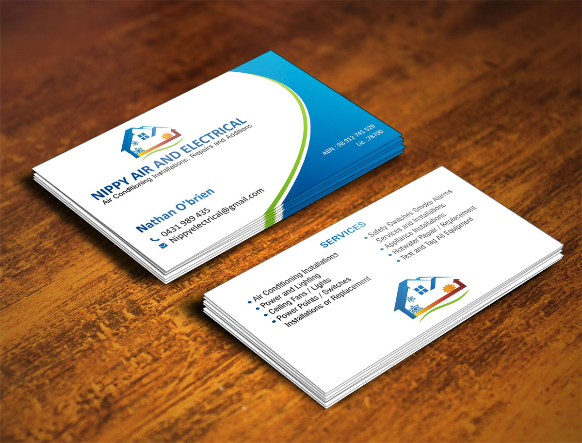 Serious modern business card design for nathan obrien by poonam business card design by poonam gupta for electrical and air conditioning business cards with logo magicingreecefo Images