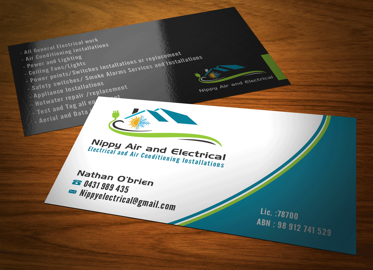 Serious modern business card design for nathan obrien by riz business card design by riz for electrical and air conditioning business cards with logo magicingreecefo Images