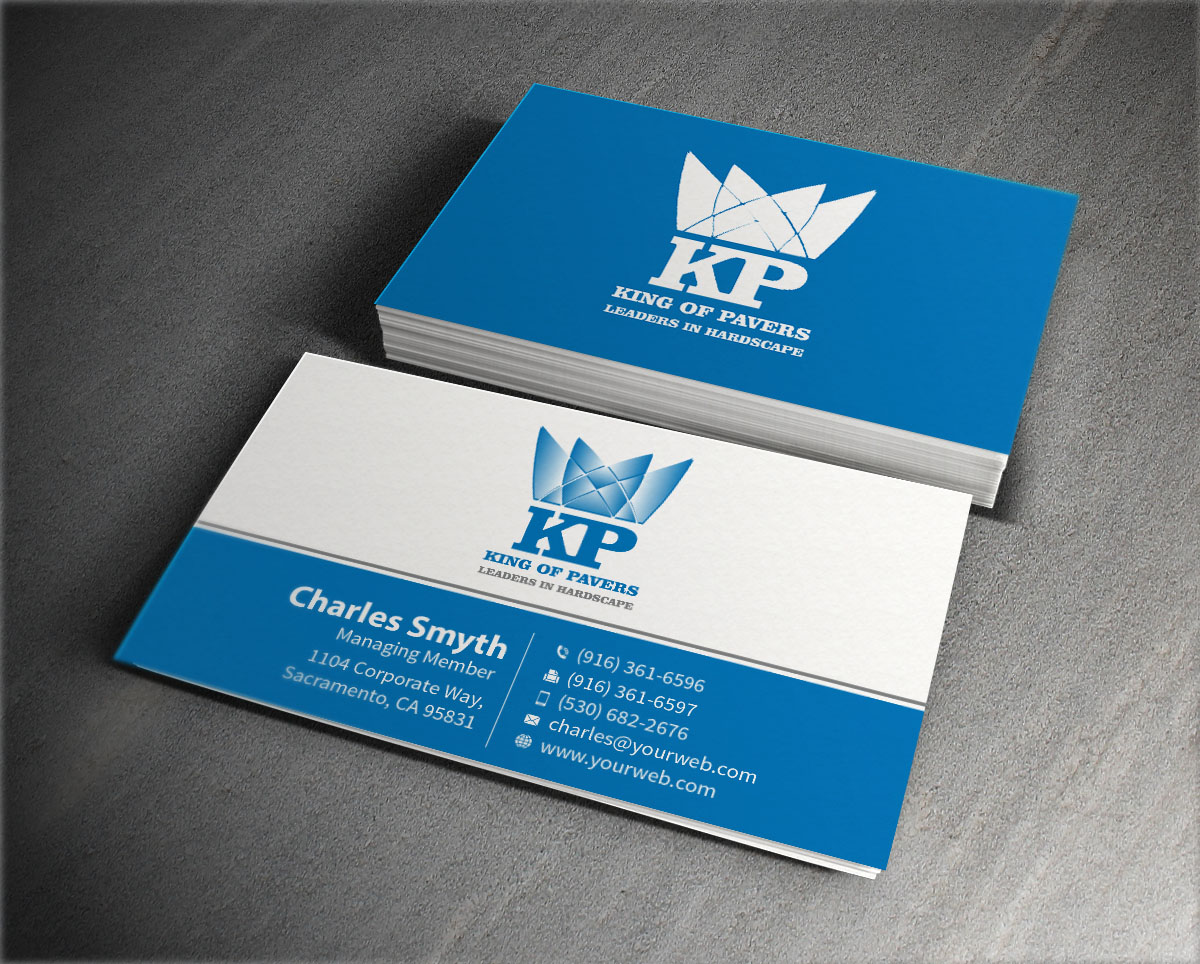 Elegant playful construction company business card design for king business card design by mediaproductionart for king of pavers corp design 6516219 colourmoves