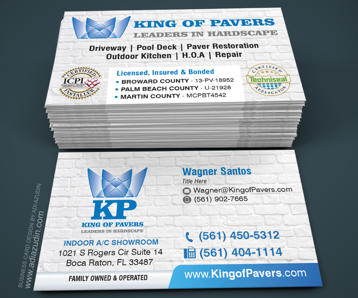 Elegant playful construction company business card design for king business card design by adiazudin for king of pavers corp design 6516329 reheart Choice Image