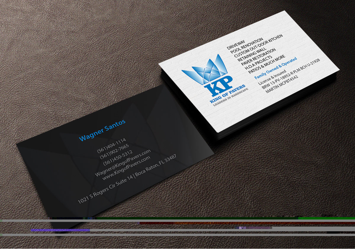 Elegant playful construction company business card design for king business card design by creations box 2015 for king of pavers corp design 6524615 colourmoves