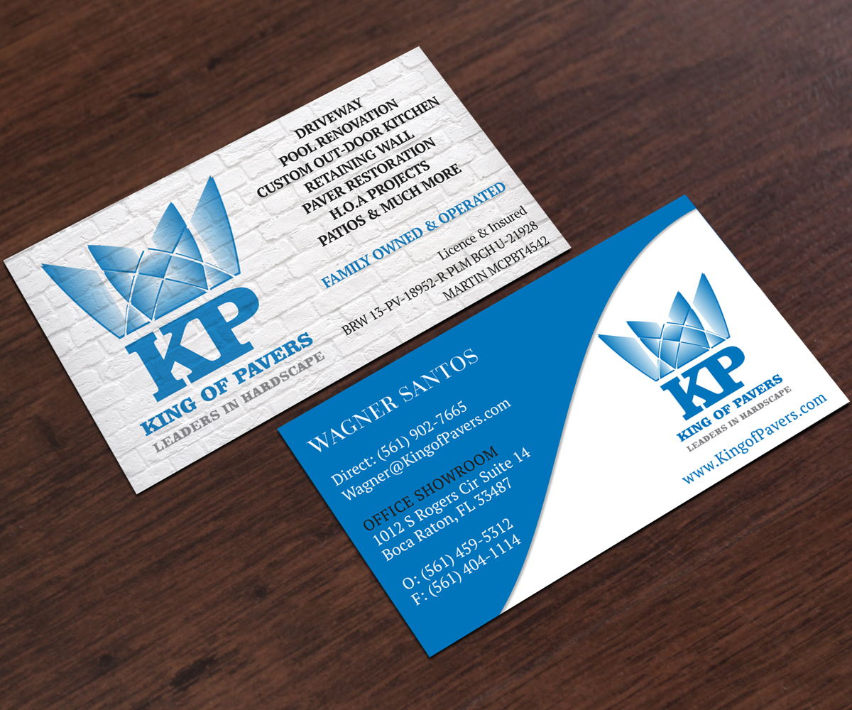 Elegant playful construction company business card design for king business card design by mvn digital for king of pavers corp design 6507752 reheart Choice Image