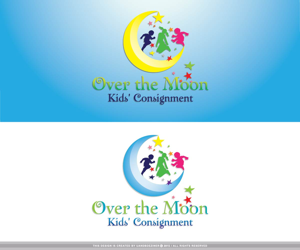 playful bold business logo design for over the moon kids