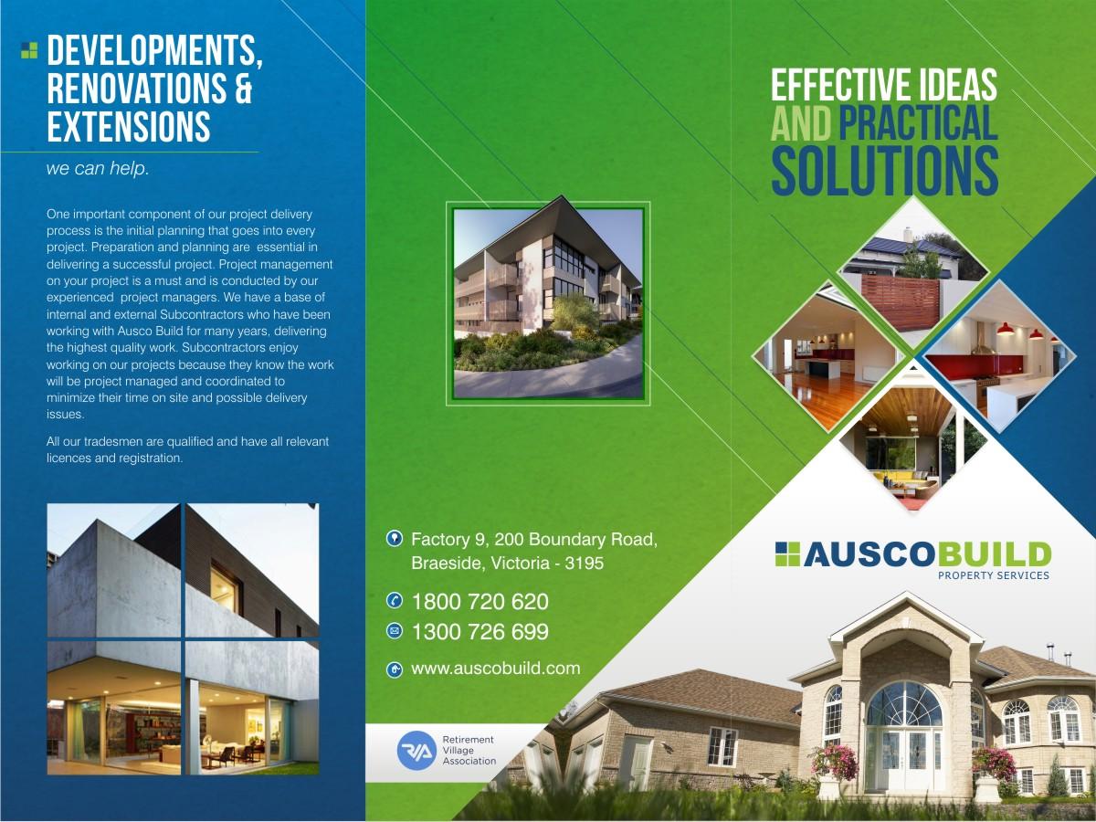 bold serious flyer design for auscobuild pty by theziners flyer design by theziners for property services bi tri fold rack brochure design