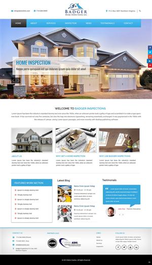 Beautiful Web Design (Design #6551934) Submitted To Badger Home Inspections Website  (Closed)