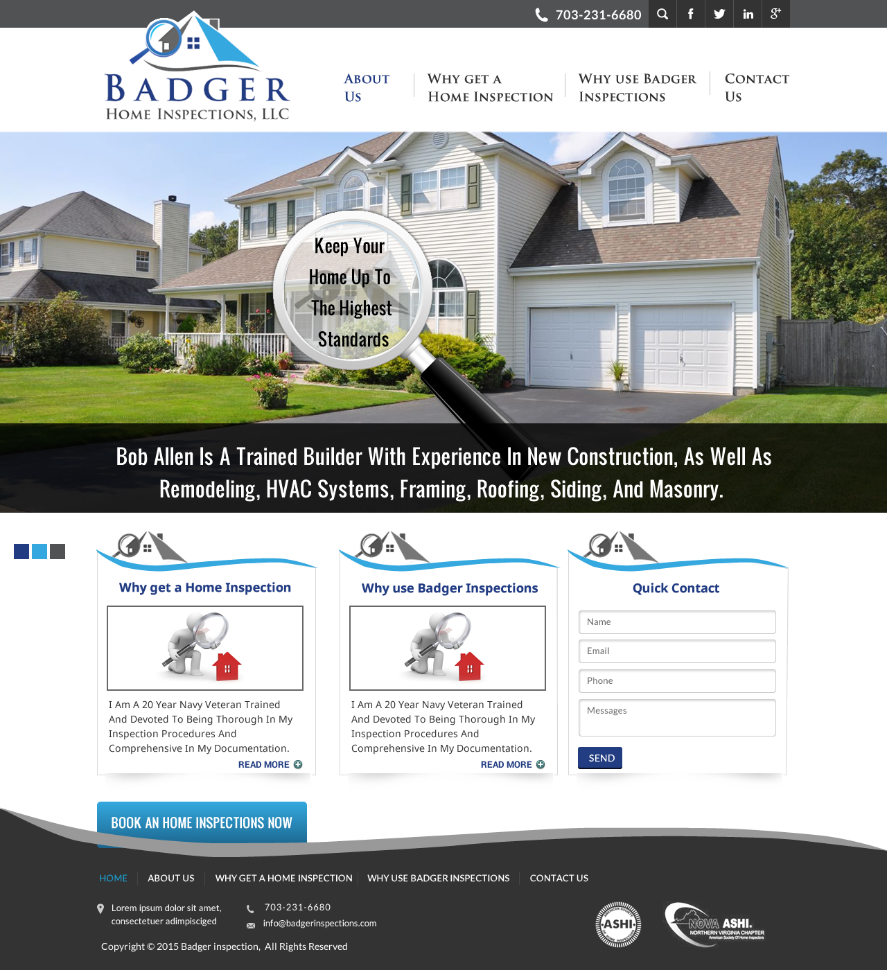 Traditional Bold Home Inspection Web Design For Badger Home