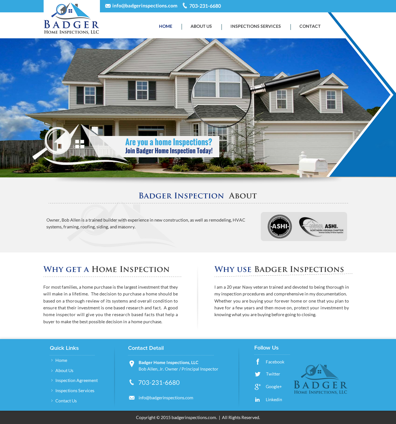 Web Design By Sbss For Badger Home Inspections, LLC. | Design: #6553339