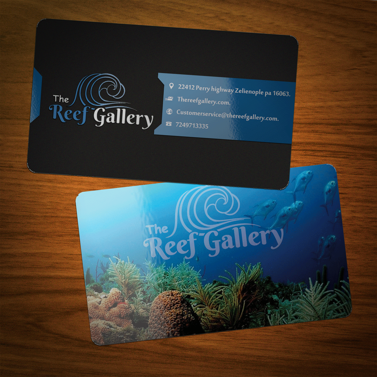 Bold serious business card design by riz design 6555215 business card design by riz for the reef gallery saltwater aquarium store business card magicingreecefo Choice Image