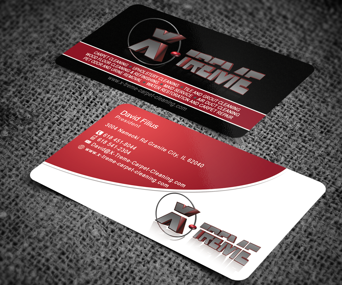 Business card design for david filius by sanrell design 6565872 business card design by sanrell for carpet cleaning business sesighn design baanklon Gallery