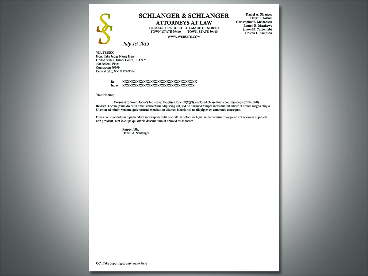 Inspirational design company letterhead companies act requirements professional serious letterhead design for schlanger schlanger llp by south coast design thecheapjerseys Images