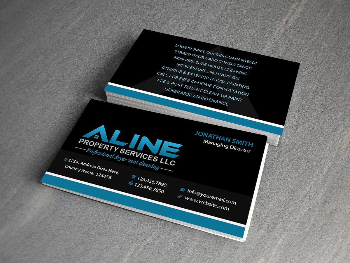 Professional bold property maintenance business card design for no business card design by creations box 2015 for no business associated design 6613040 reheart Gallery