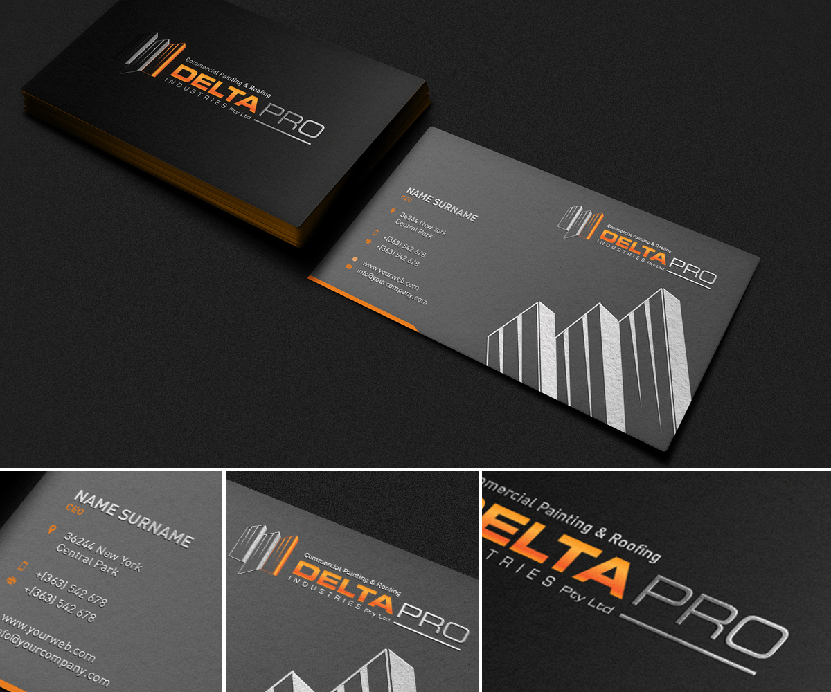 Elegant serious business card design for delta pro industries pty business card design by milovanovic for company business card design project revamp the image of colourmoves
