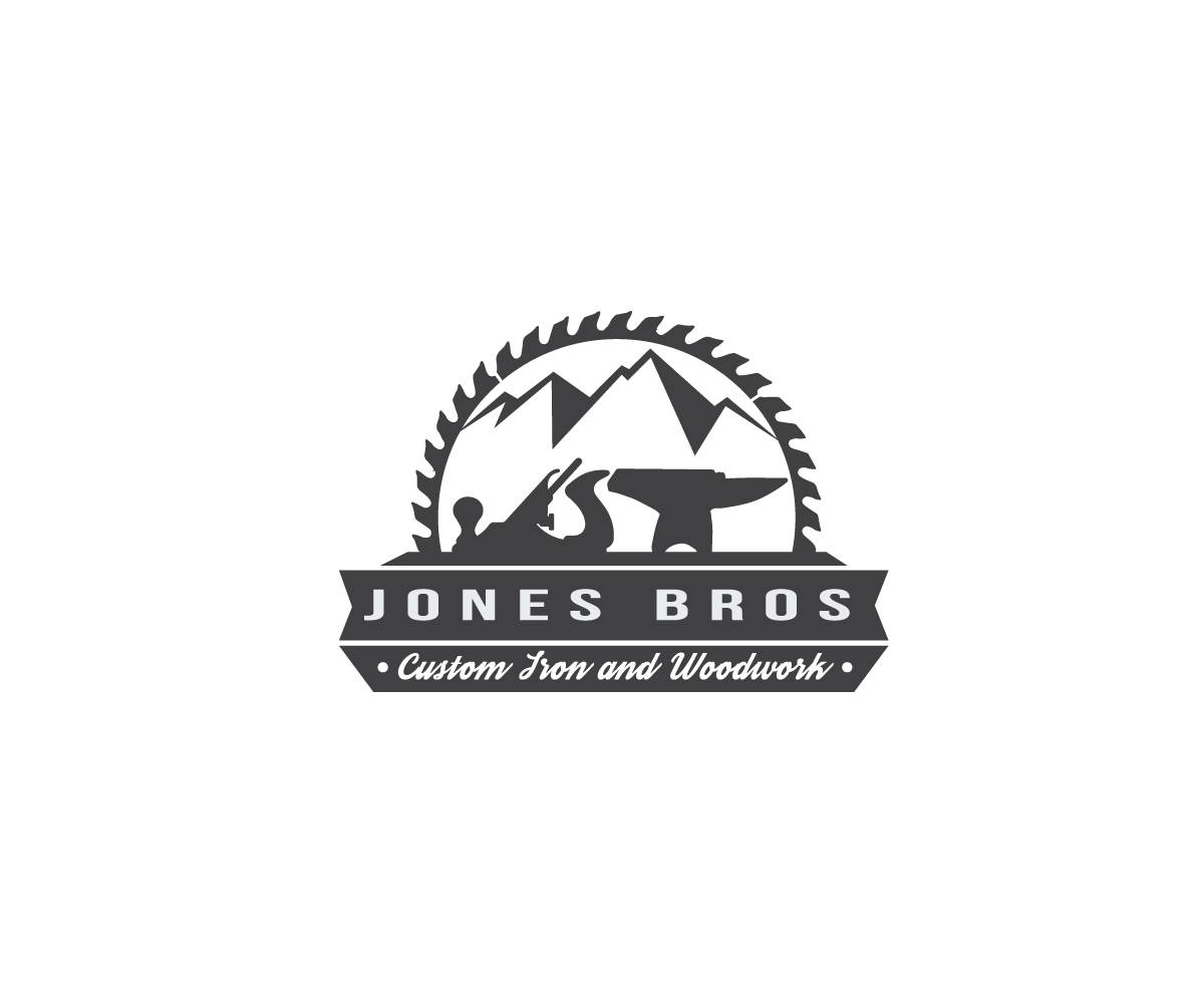 woodworking logo. logo design by ena for jones bros custom woodworking and blacksmithing business -