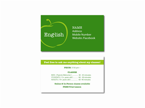Business cards for teachers of english images card design and card business cards for tefl teachers image collections card design and business cards for english teachers images reheart Images
