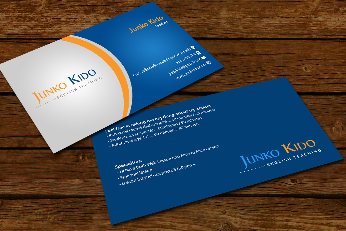 masculine conservative business card design for junko kido by