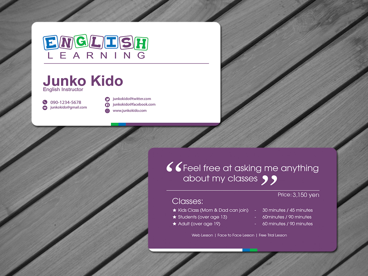 Masculine, Conservative Business Card Design for Junko Kido by ...