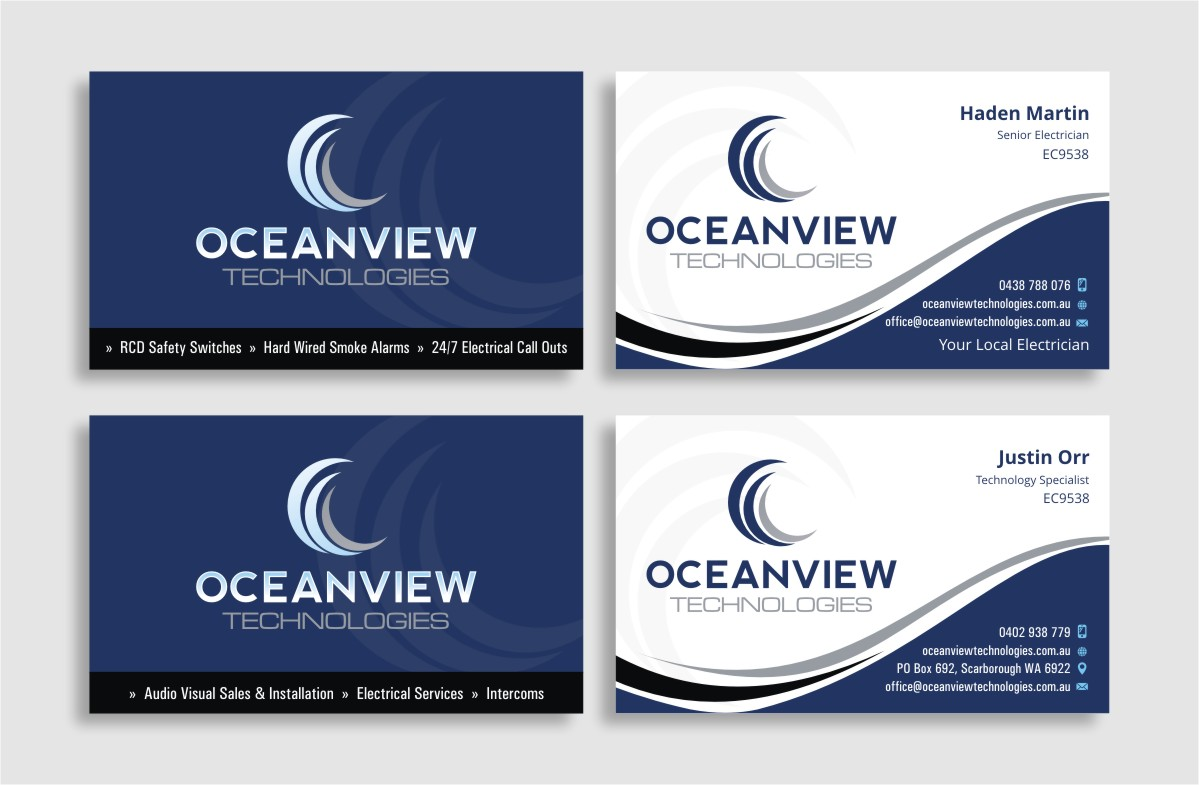 Serious, Modern Business Card Design for Oceanview Technologies by ...