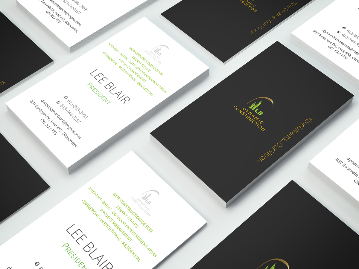 Serious modern construction business card design for lb dynamic business card design by elephantdesign for lb dynamic construction inc design 6794261 reheart Gallery