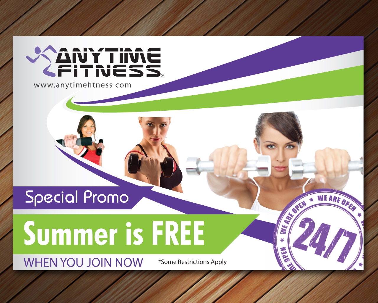 elegant playful fitness flyer design for anytime fitness by sbss