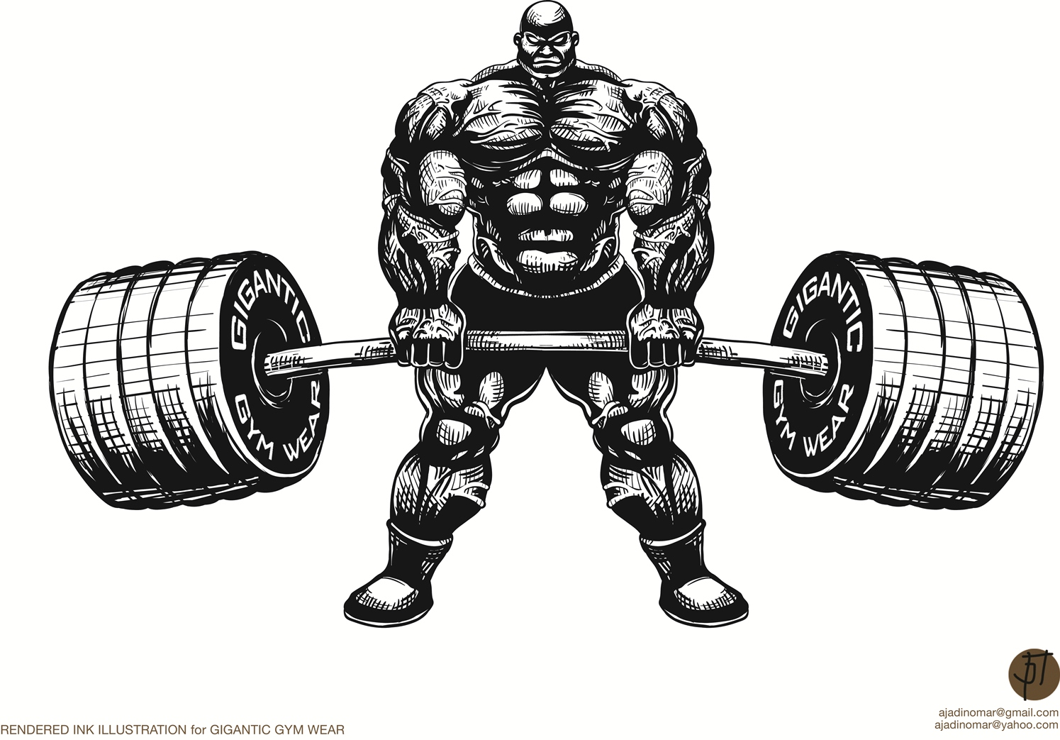 Serious masculine clothing illustration design for a - Cartoon body builder ...