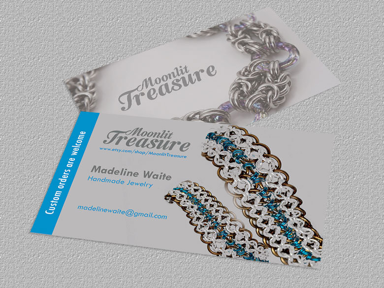 Feminine colorful jewelry business card design for moonlit business card design by orlyaffran for moonlit treasure design 6796315 reheart Image collections