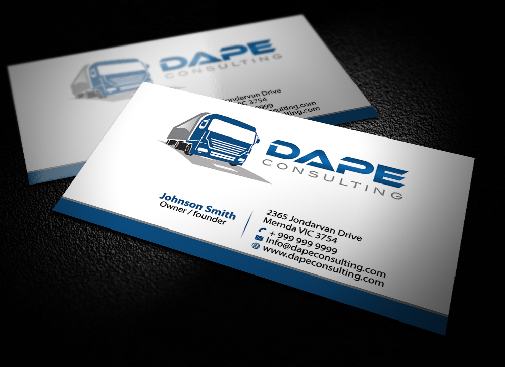 Serious modern business card design for david dvinov by for Trucking business card design