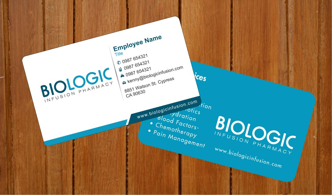 business card design by sbss for biologic infusion design 1752370 - Pharmacy Business Cards