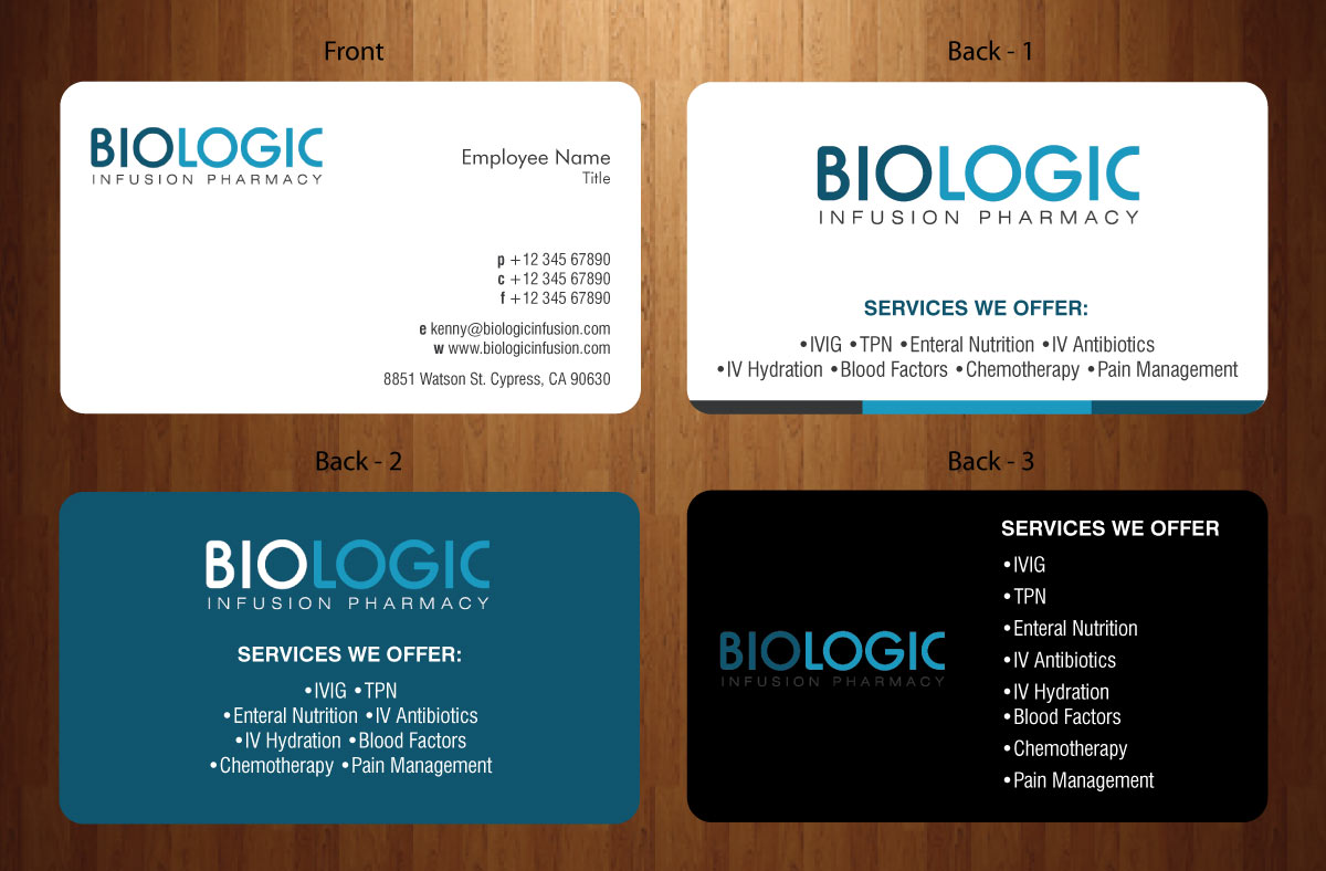 Elegant Playful Pharmacy Business Card Design For Biologic