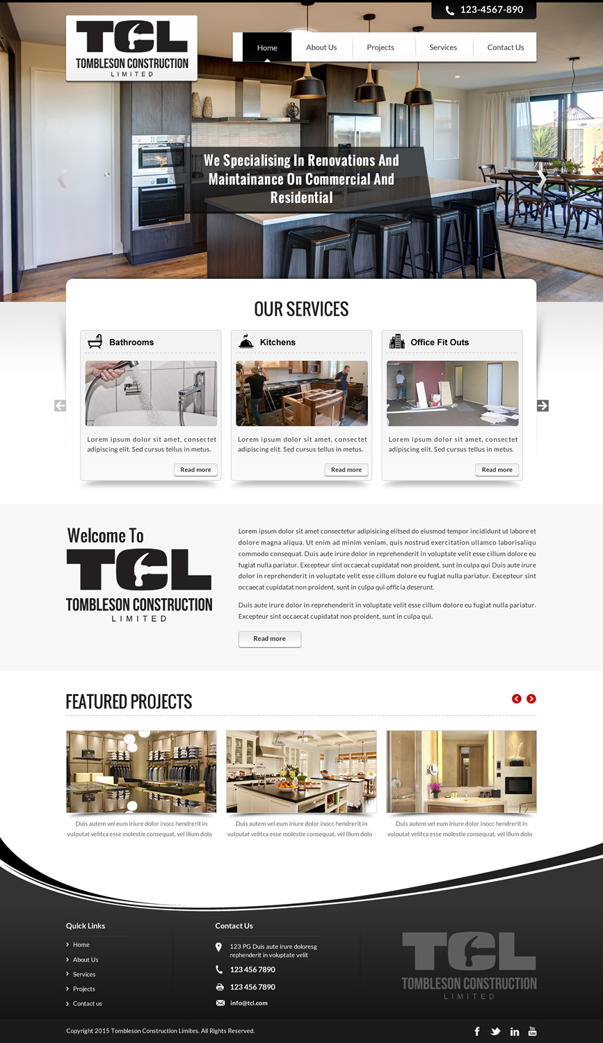 Bold professional building web design for tombleson for Professional building designer