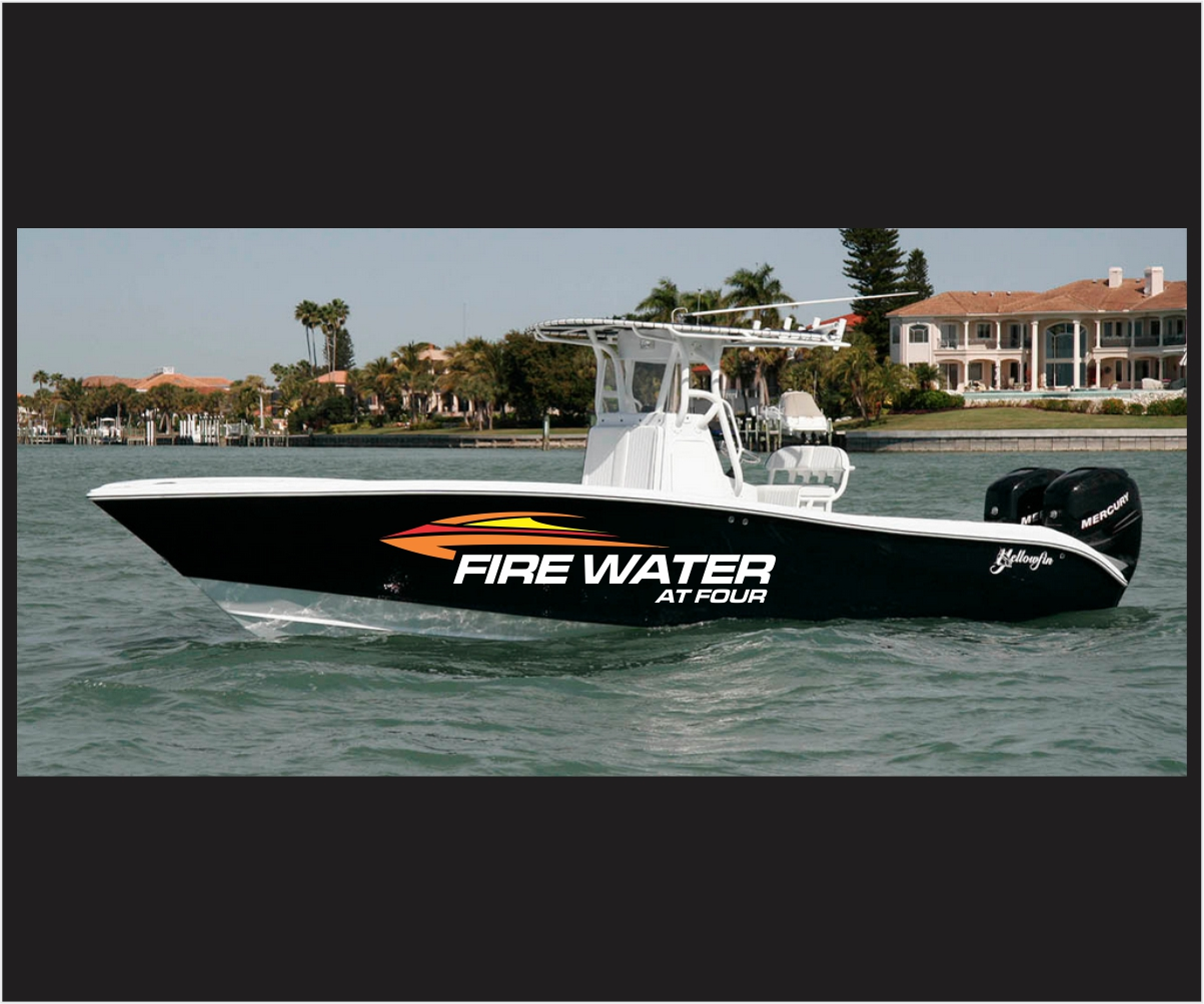 Graphic Design By Logocraft For Yellowfin 42 Center Console Boat Name
