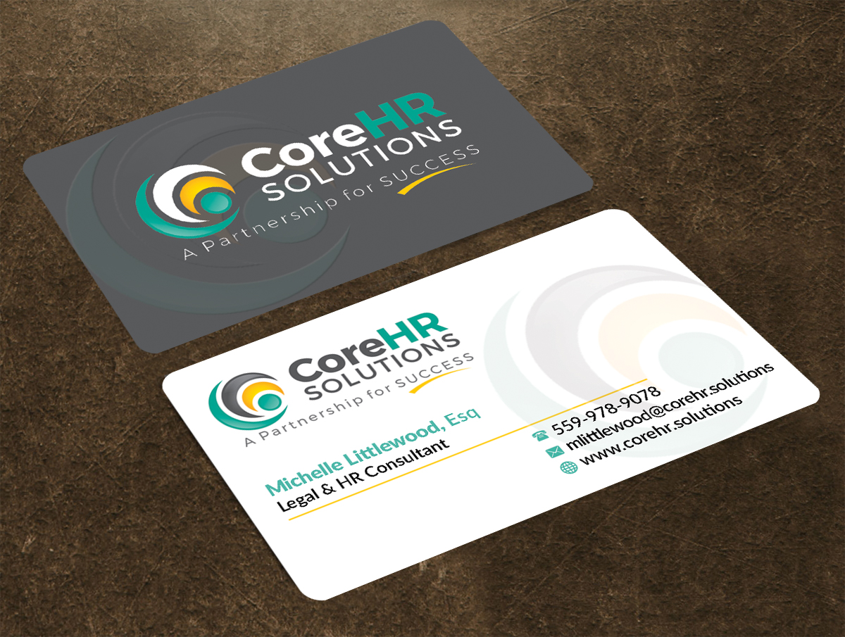 Professional, Feminine Business Card Design for CoreHR Solutions by ...