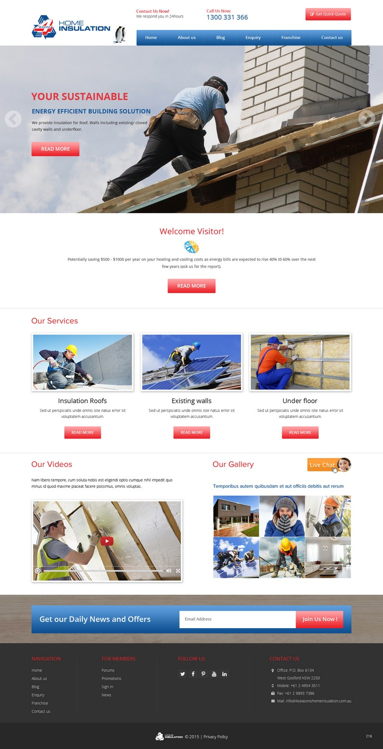 Professional, Bold Web Design for 4 seasons Home Insulation by pb ...