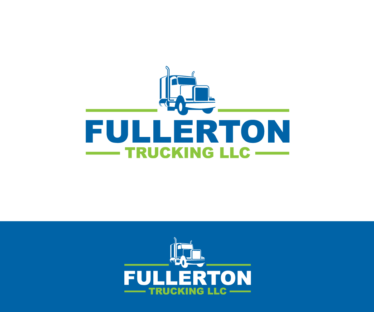 bold playful trucking company logo design for fullerton