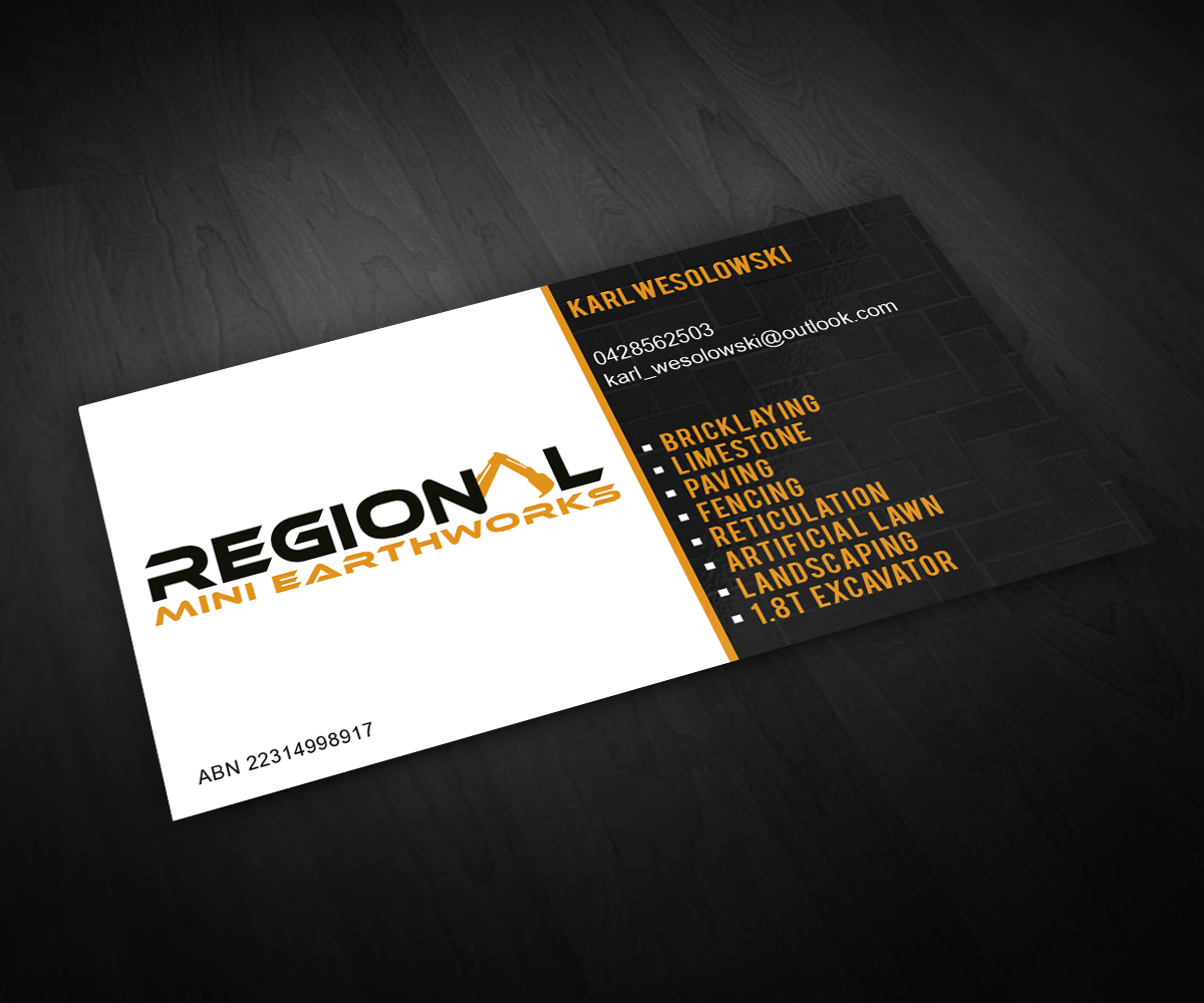 Business Business Card Design for Regional mini earthworks by ...
