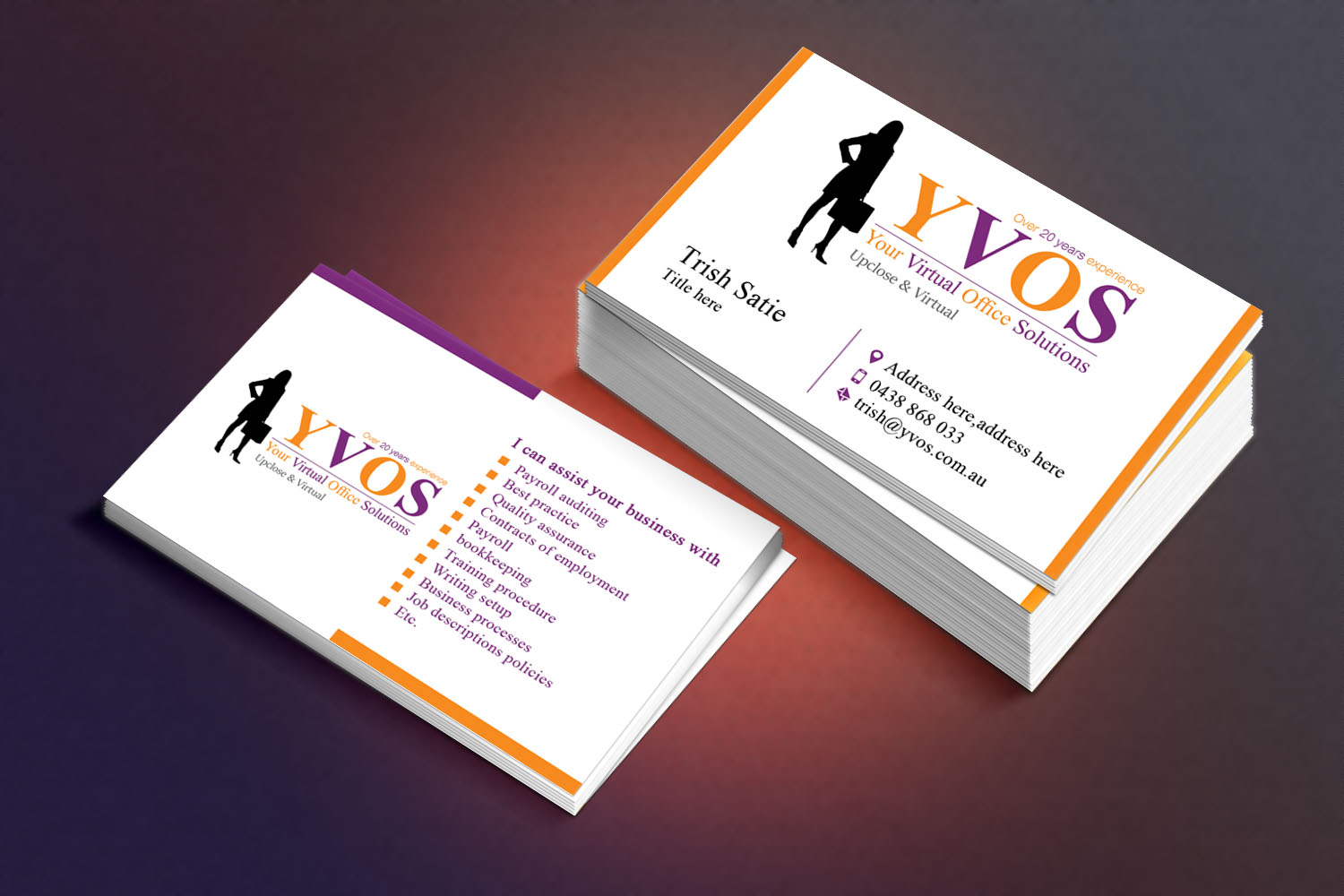 Modern professional business business card design for yvos your business card design by sandaruwan for yvos your virtual office solutions design 6824379 reheart Gallery