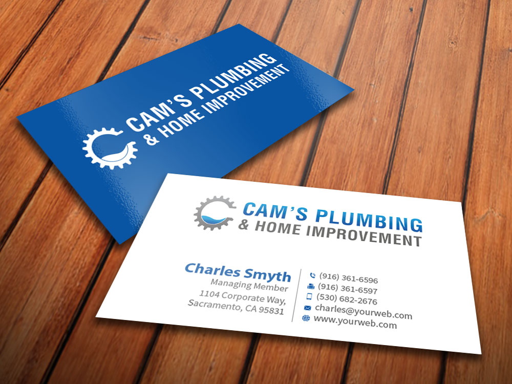 Serious modern business card design for colby muhleisen by business card design by mediaproductionart for plumbing and home improvement business card design design colourmoves