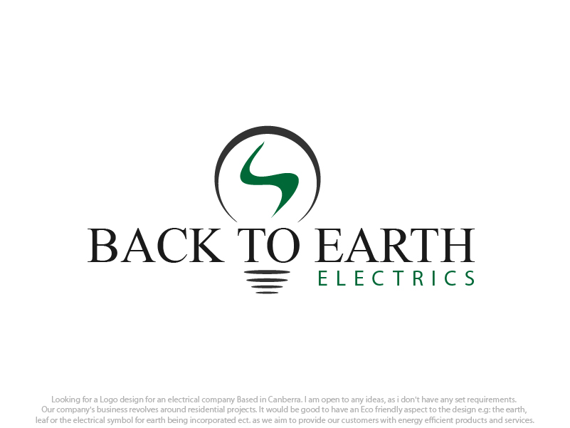 Masculine, Bold, Electrical Logo Design for Back To Earth Electrics ...