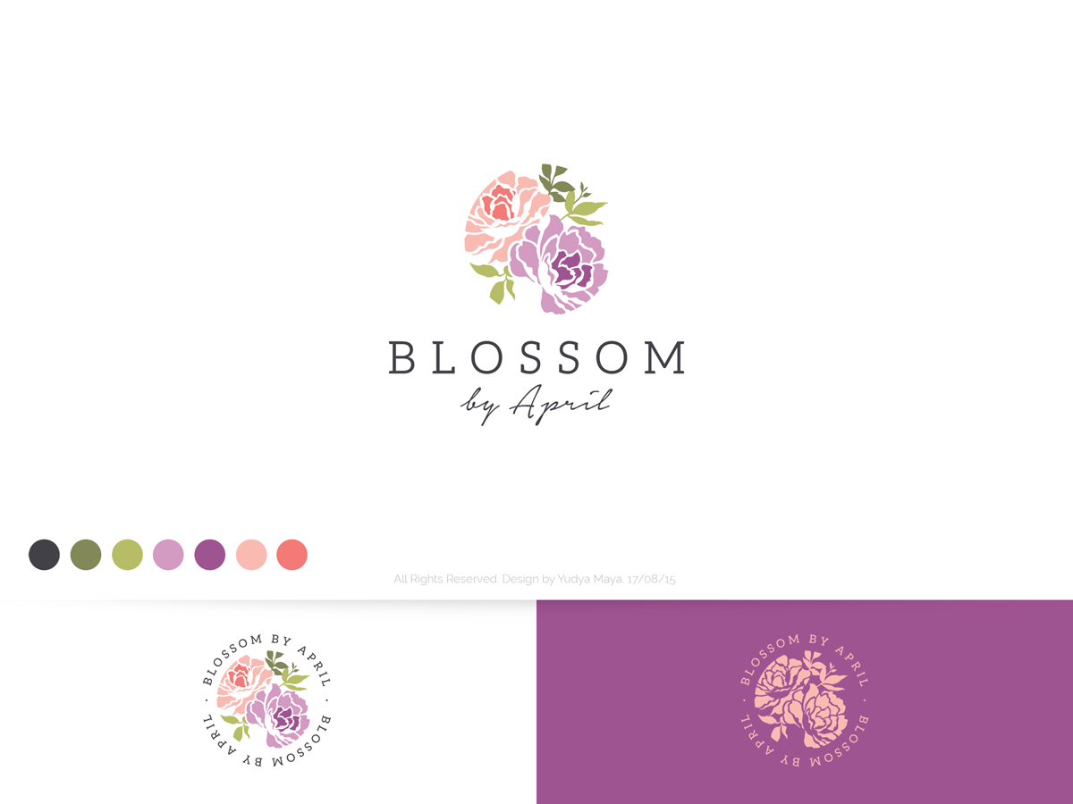 elegant traditional florist logo design for blossom by april by